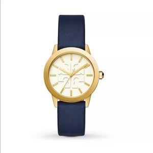 Tory Burch Gigi Watch Navy Leather Strap Gold Face